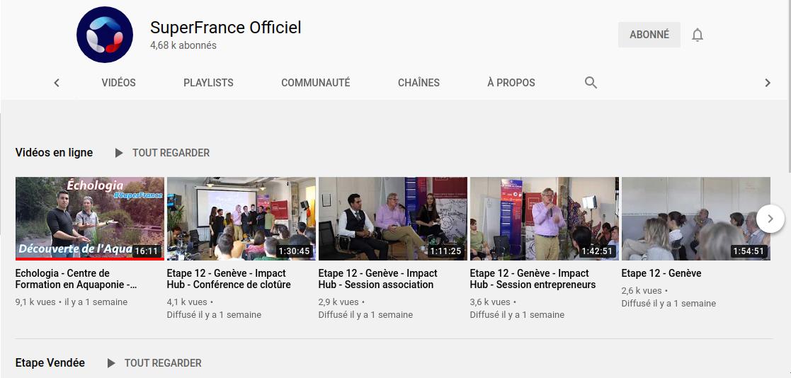 La chaine YouTube de Super France